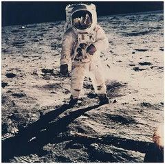 Buzz Aldrin's Sun Visor Reflects Neil Armstrong and the Apollo 11 Eagle on Moon