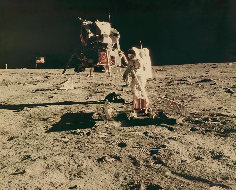 Astronaut Buzz Aldrin Conducts Lunar Experiments on Moon, Apollo 11 NASA Photo
