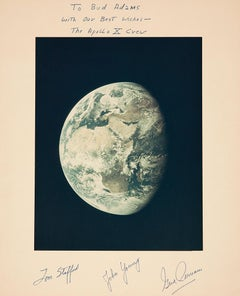 View of the Earth from Apollo 10 Moon Mission, Signed by Astronauts NASA