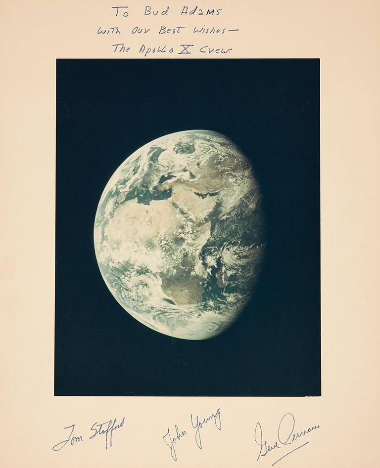 View of the Earth from Apollo 10 Moon Mission, Signed by Astronauts NASA - Photograph by NASA