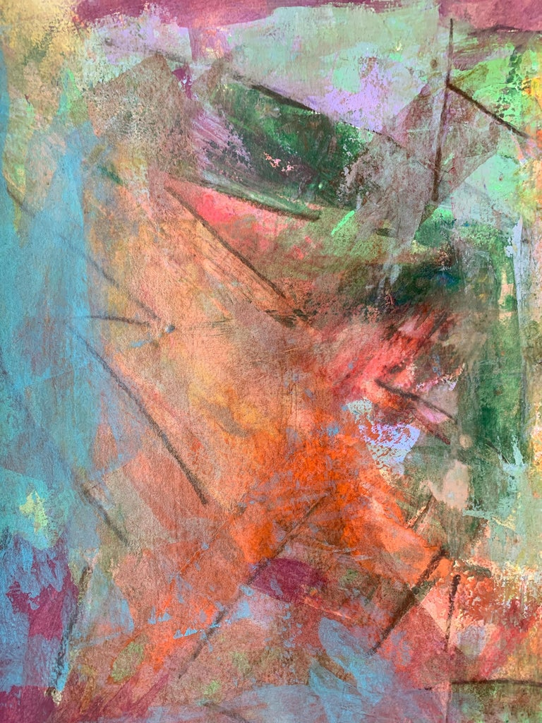 Abstract portrait, Acrylic on Paper, Work on Paper, Original Painting on Paper For Sale 1