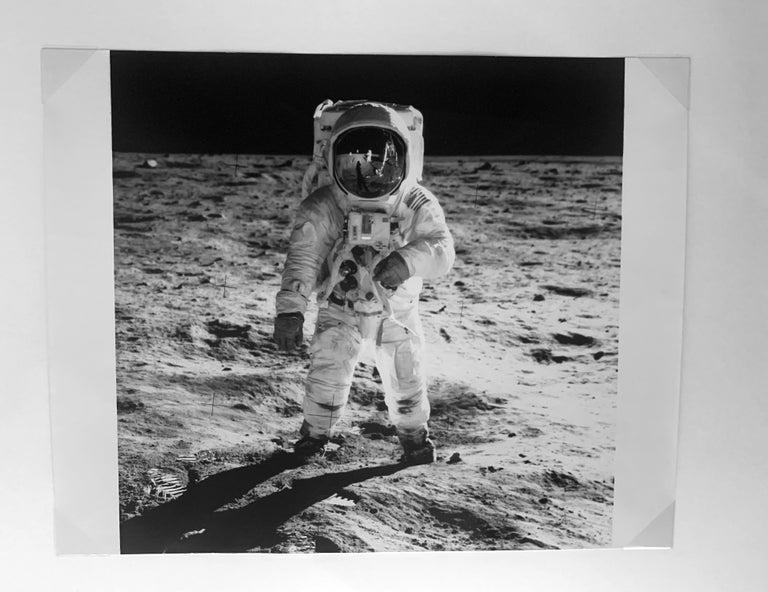 Buzz Aldrin's Sun Visor Reflects Neil Armstrong and Apollo 11, Vintage Photo - Photograph by NASA