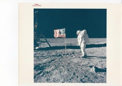 Buzz Aldrin Besides the Flag photo by Neil Armstrong, Apollo 11, Vintage Print