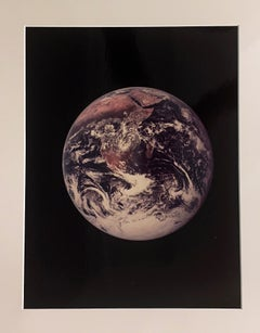 Blue Marble by NASA Apollo 17 Astronauts, Vintage Color Photo Mounted on Board