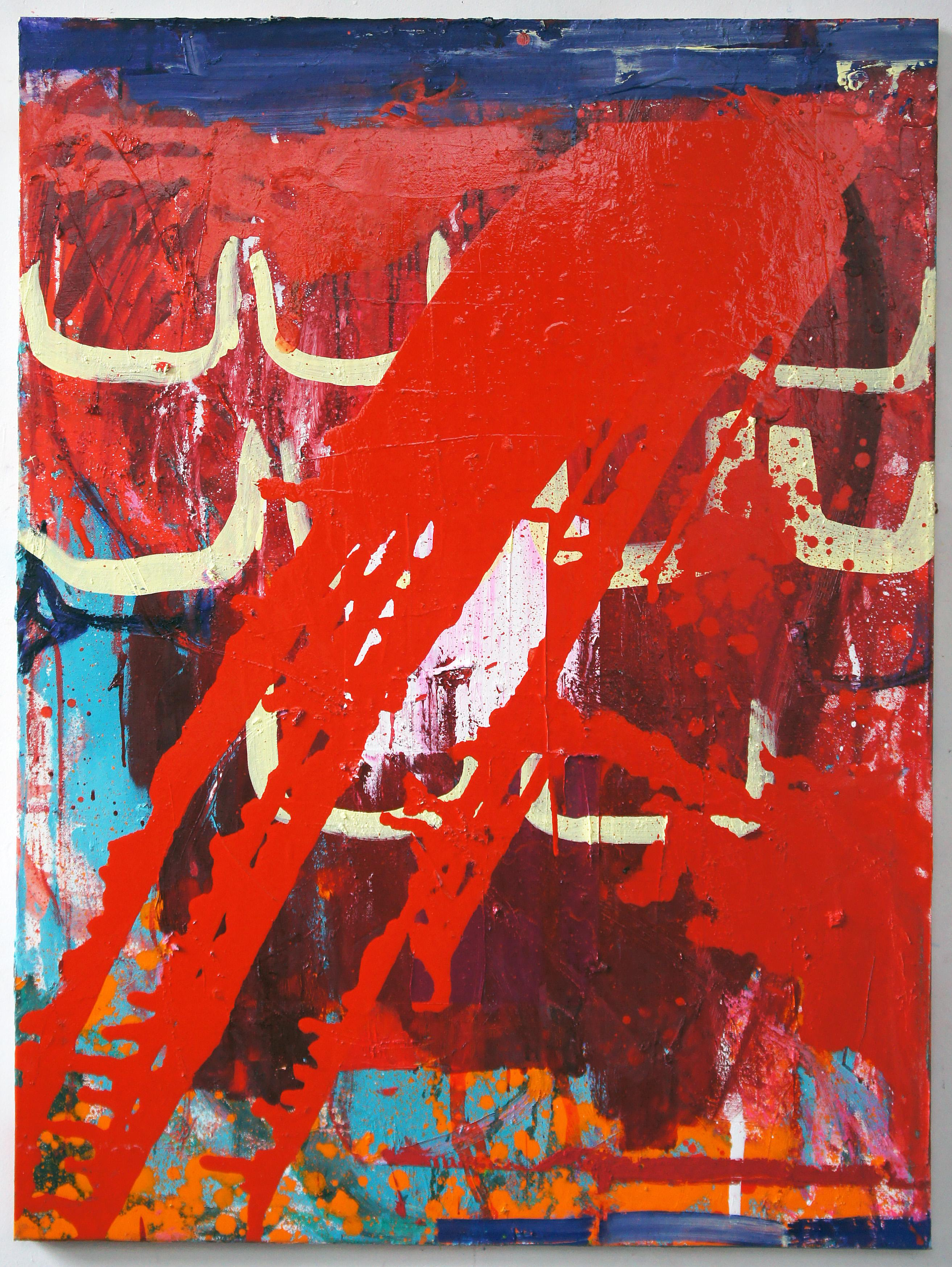 Red Lightning, Abstract Contemporary Painting on Canvas by Japanese Woman Artist