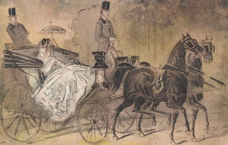 Constantin Ernest Adolphe Hyacinthe Guys Animal Art - Carriage Ride in the Park