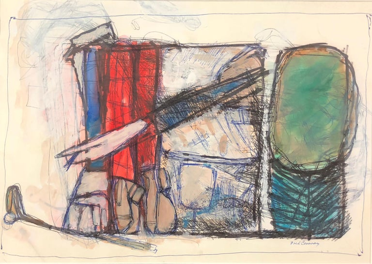 Frederick Conway Abstract Drawing - Golf Bags with Driver and Ball