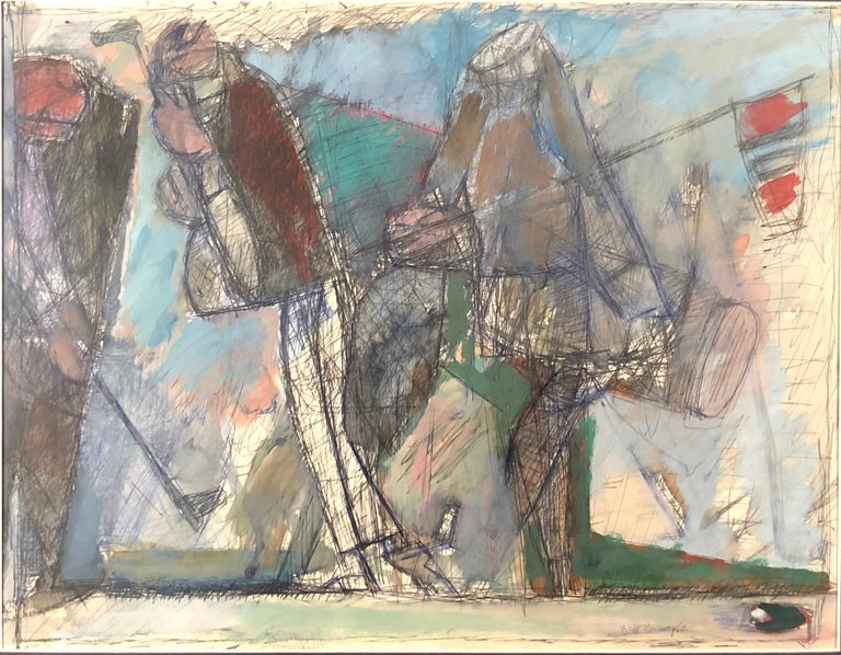 Frederick Conway Abstract Drawing - Two Golfers and a Caddy