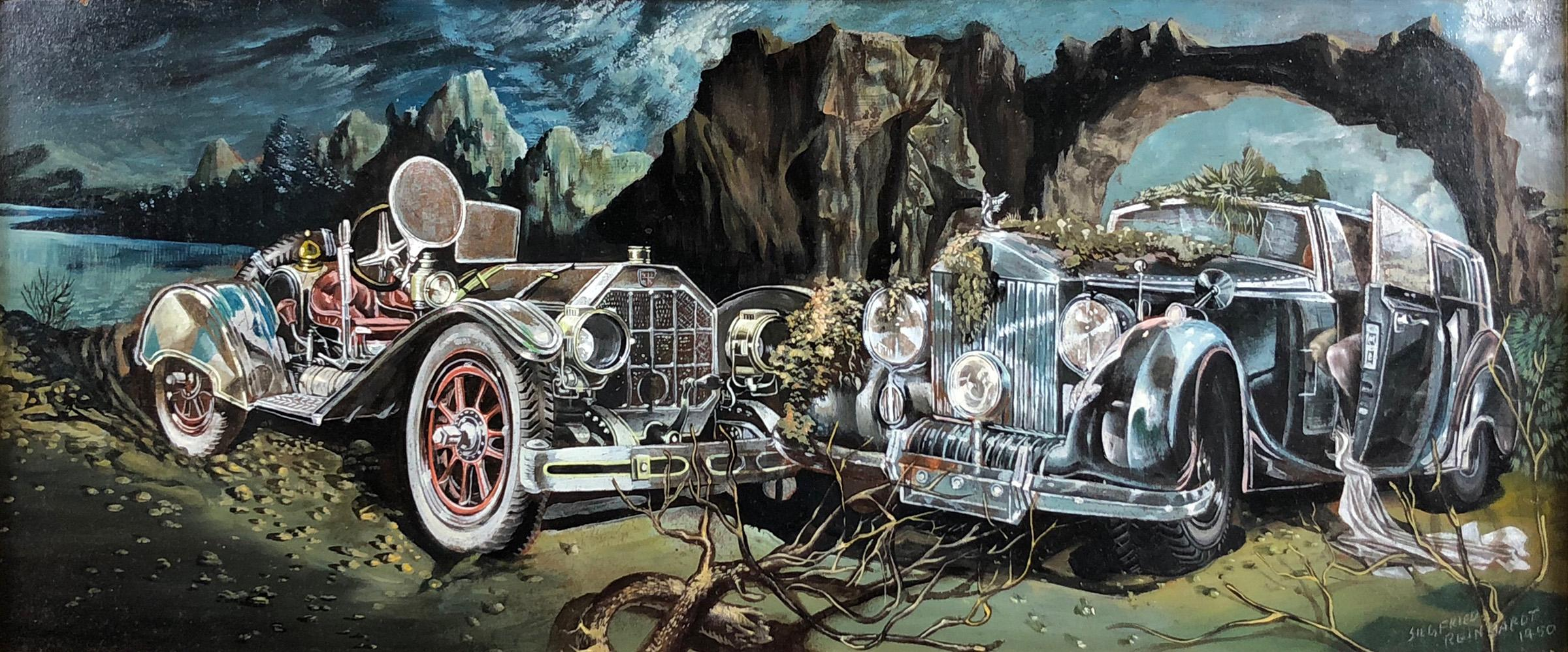 Surreal Landscape with an American Underslung and Rolls Royce