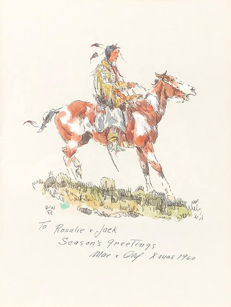 Olaf Wieghorst Figurative Art - Season's Greetings 1960 (Brave on Horseback)