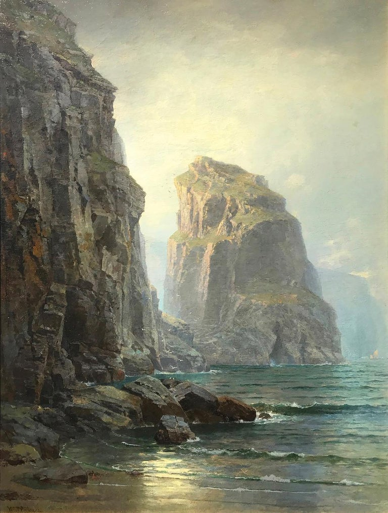 """William Trost Richards, """"Cliffs at St. Columb, Cornwall"""" circa 1878-1880.  Oil on Canvas Laid to Board  42 x 31 inches / 47.5 x 38 inches framed Signed Lower left Original label verso, """"Cliffs at St. Columb, Cornwall""""  Provenance:  Artist to Private"""