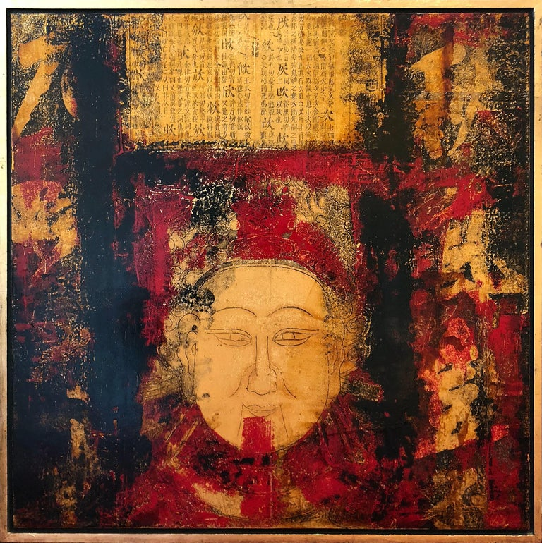 Face and Chinese Calligraphy - Painting by Huang Gang