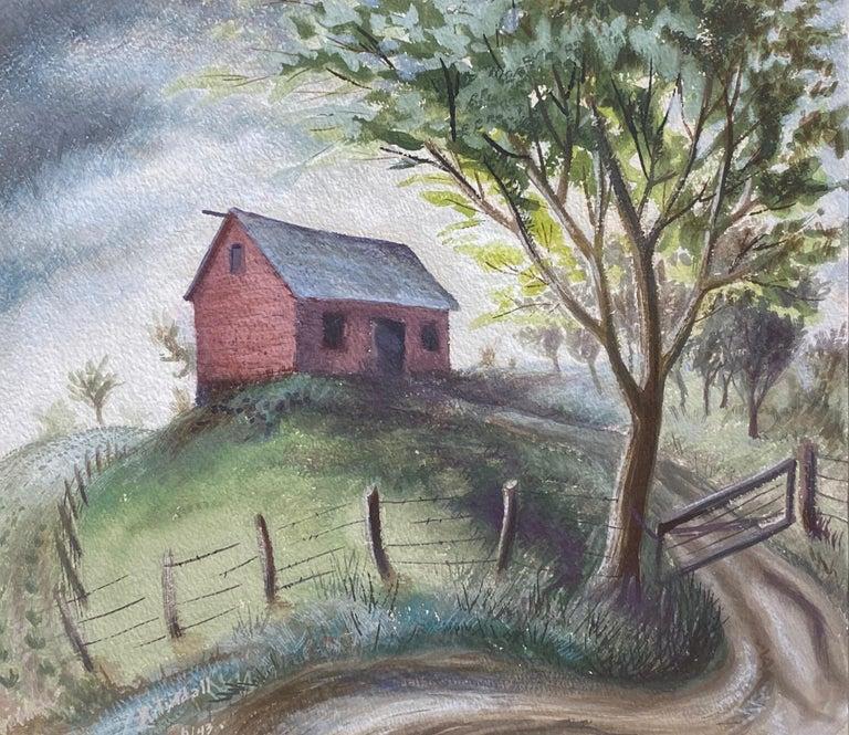 Robert Elton Tindall Landscape Art - Hilltop Barn