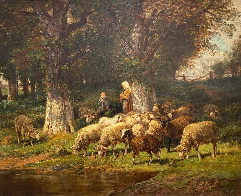 James Desvarreux-Larpenteur Animal Painting - The Knitting Shepherdess and Her Flock
