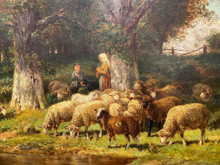 The Knitting Shepherdess and Her Flock - Impressionist Painting by James Desvarreux-Larpenteur