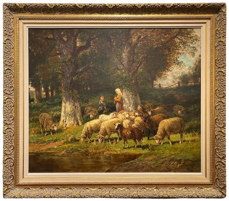 The Knitting Shepherdess and Her Flock - Painting by James Desvarreux-Larpenteur