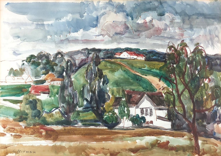 """Louis Ritman (1889-1963) """"Rolling Country"""" c. 1945 Original Watercolor on Paper Signed Lower Left  Provenance: Milch Galleries, NY (original label verso) Exhibited: Milch Galleries, NY, Feb. 1945  Site Size: approx 14 3/8 x 20 3/8 inches Framed"""