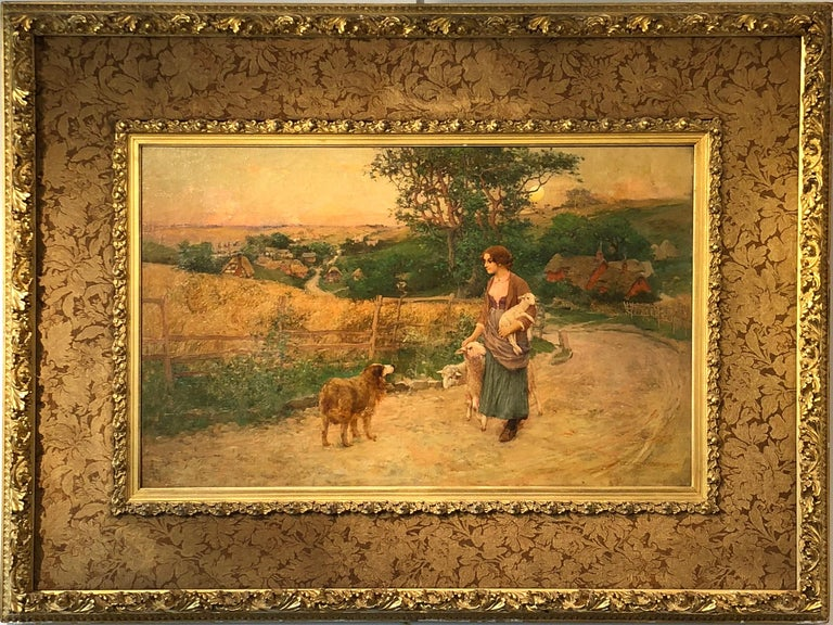 """George W. Chambers  """"Poor Man's Flock"""" 1897 Oil on Canvas 23.5 x 37.5 inches/42 x 57 inches framed approx. In Original Frame  Provenance:  The Artist thence by Descent; to Private Midwest Collection thence by Descent. Literature:  See below quote by"""