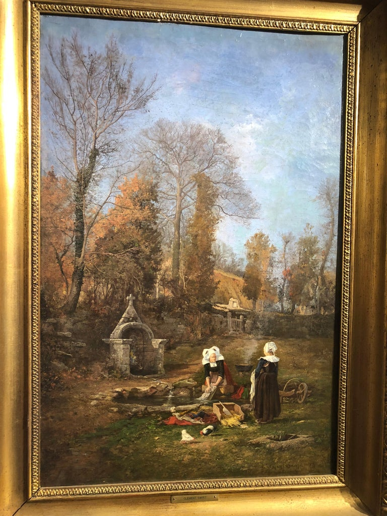 Breton Chores - Brown Landscape Painting by Clement Swift