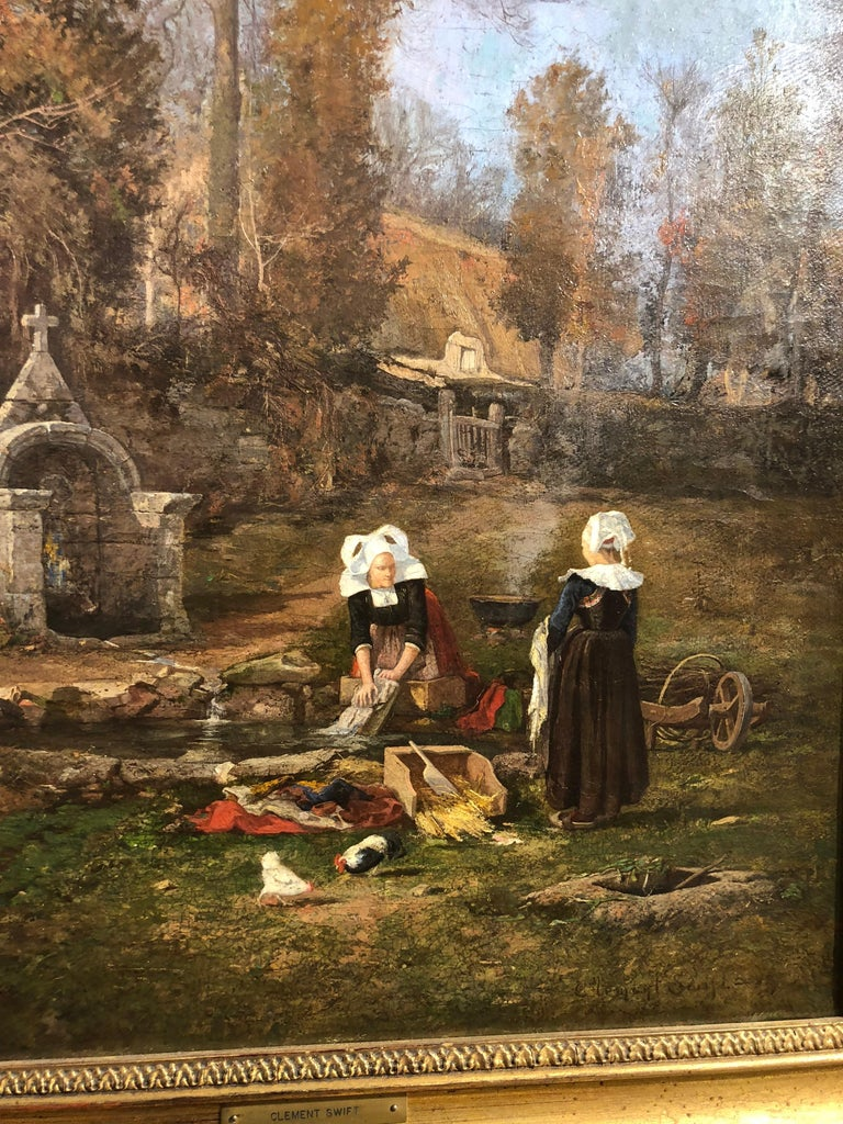 Breton Chores - Victorian Painting by Clement Swift