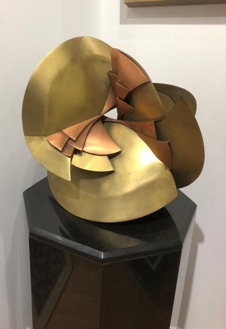 Peace - Brown Abstract Sculpture by Heloise Crista