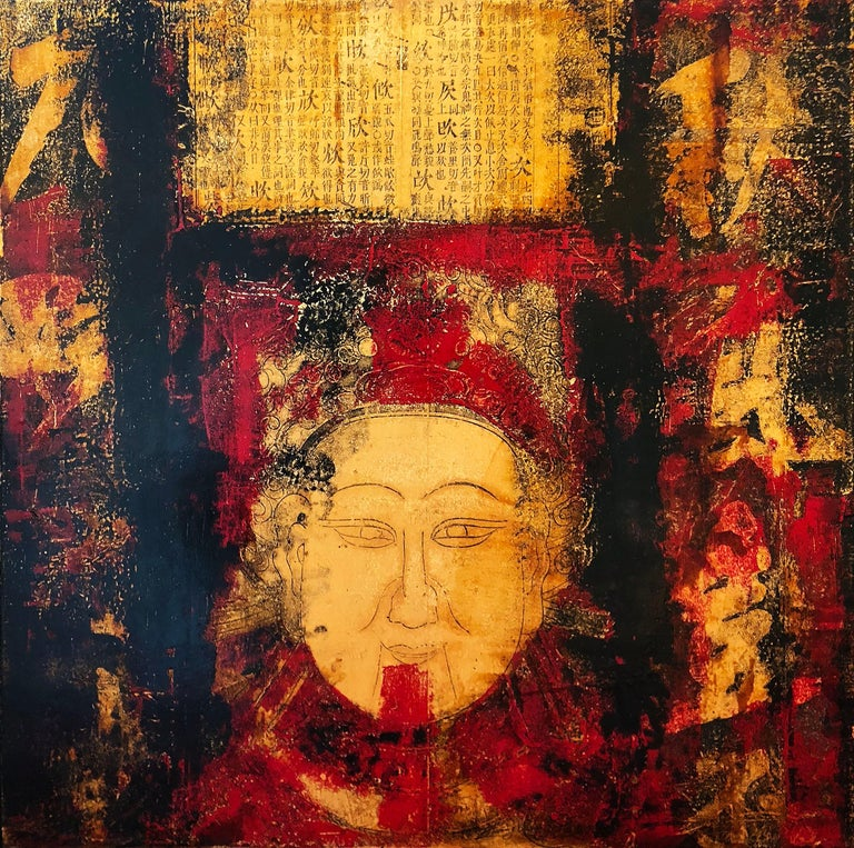 Huang Gang Abstract Painting - Face and Chinese Calligraphy
