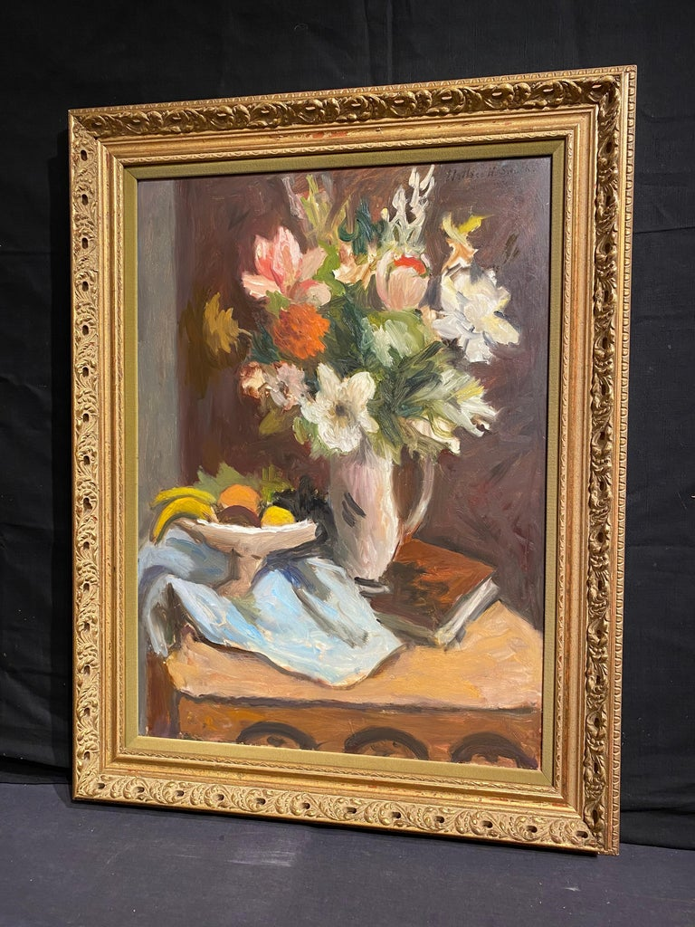 Still Life of Flowers and Fruit - American Impressionist Painting by Wallace Herndon Smith