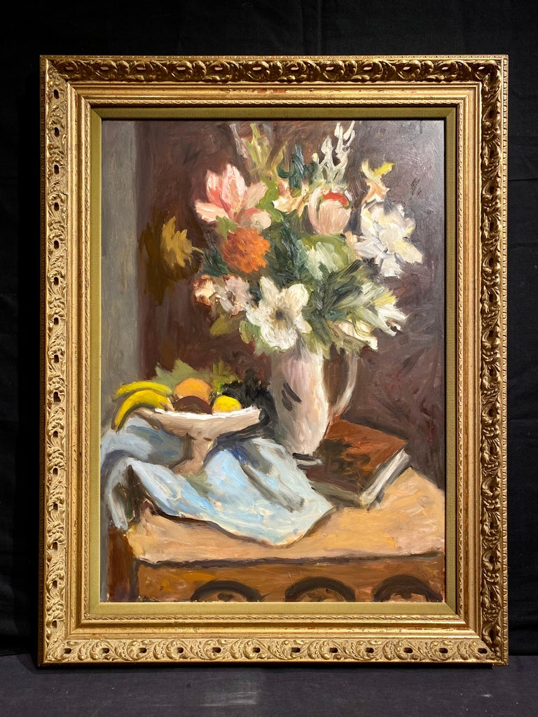 Still Life of Flowers and Fruit - Painting by Wallace Herndon Smith