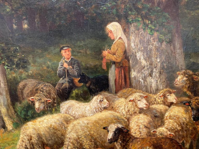 The Knitting Shepherdess and Her Flock - Brown Animal Painting by James Desvarreux-Larpenteur
