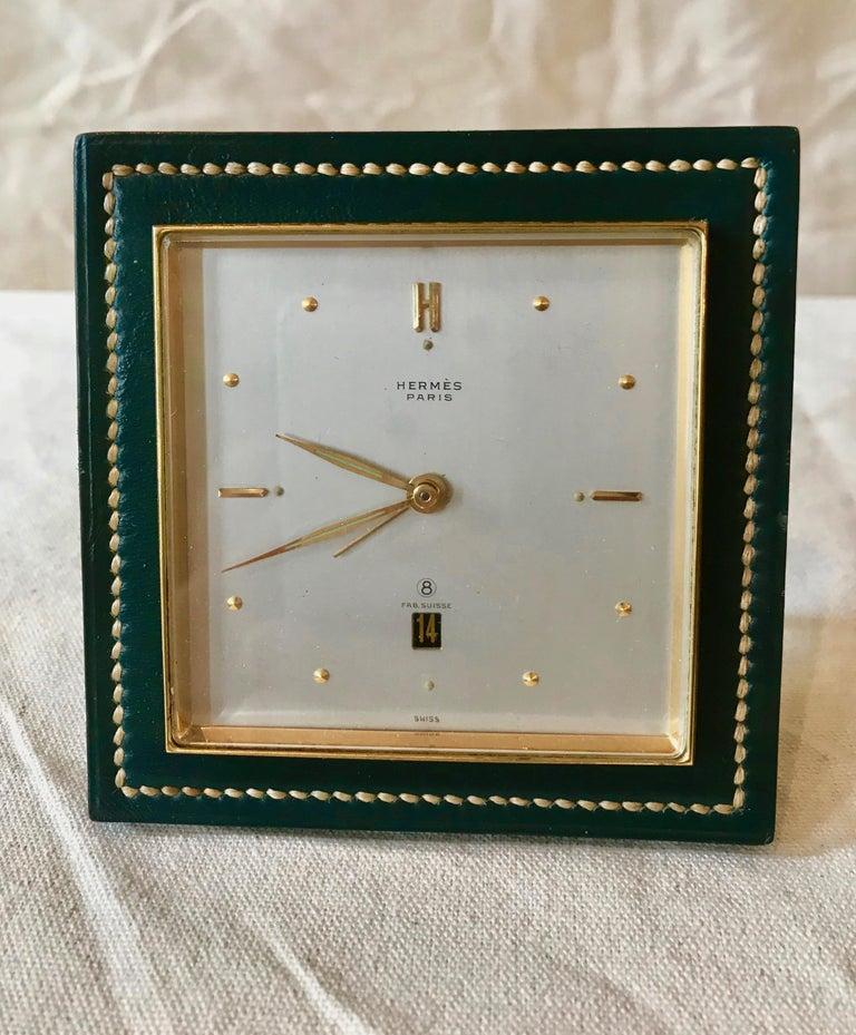 Rare Stitched Green Leather and Gold Plate Alarm Clock, Circa 1950's - Art by Hermès