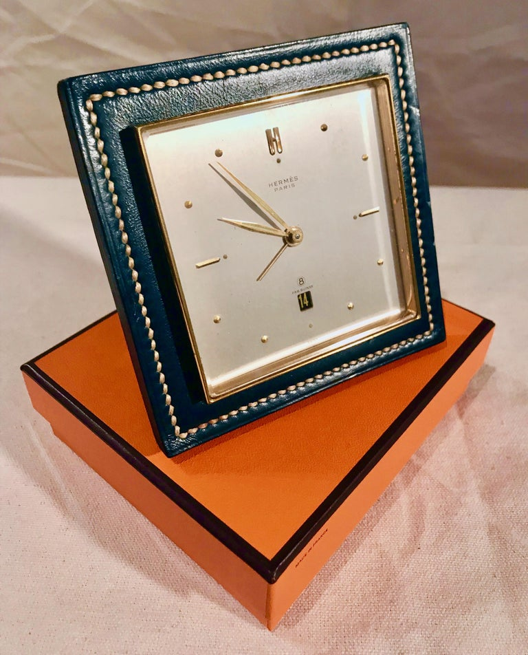 Rare Stitched Green Leather and Gold Plate Alarm Clock, Circa 1950's - Art Nouveau Art by Hermès