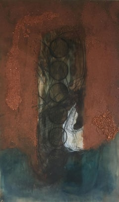 """Contemporary Oil Painting in Brown and Blue Hues """"Monolith"""""""