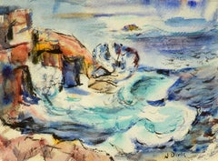 """Swirling Seas,"" Nathaniel Dirk, watercolor, seascape, modernism, ca 1940s"