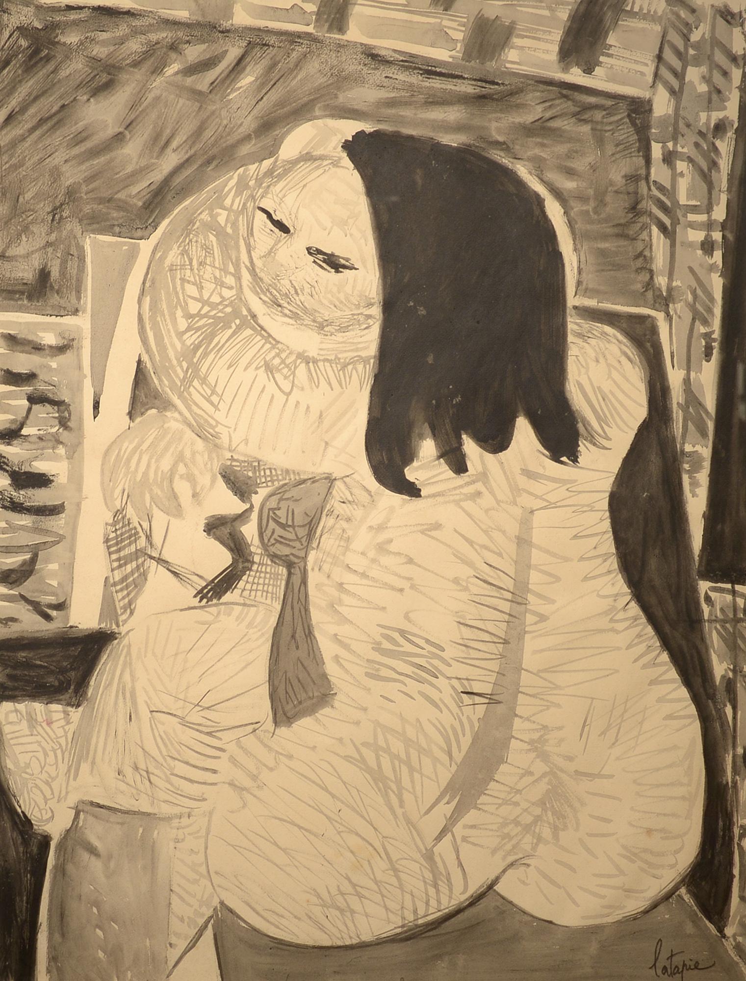 """Cubist Nude,"" Louis Latapie, watercolor and ink, figurate, nude"
