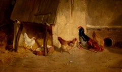 """Fowl Play,"" Georg Durand, barnyard, oil painting, chickens, ca 1840-50, realist"
