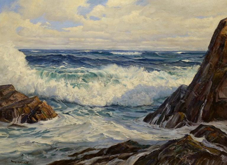 Charles Bridgeman Vickery Landscape Painting - Crashing Surf, Maine Coast