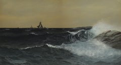 """""""Distant Sails,"""" Neil Reed Mitchill, gouache, seascape, marine painting, realist"""