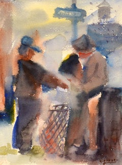 """""""At the Corner,"""" Henry Gasser, Watercolor, City Life"""