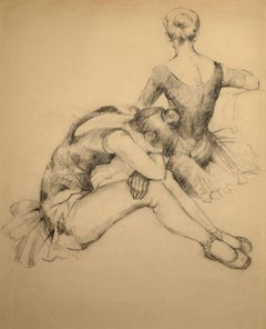 """""""At Rest,"""" French Impressionist, 19th century, charcoal, dancers, ballet"""