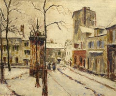 """Montmartre,"" Emersy Sart, oil, impressionist, Paris street scene, ca 1935"