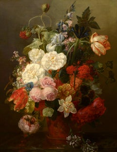 """Floral Still Life,"" Frants Diderik Bøe, oil painting, realist, circa 1850-60"