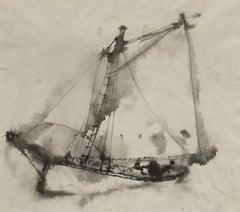 """Gaff-Rigged Schooner,"" William Thon, ink wash, sailing, modernist"