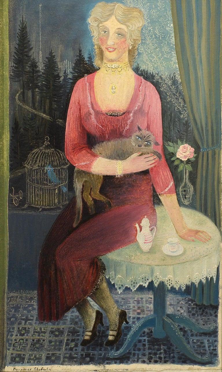 """Die Sängerin,"" Dorothea Stefula, illustration, acrylic, figurative, ca 1950-60 - Painting by Dorothea Stefula"