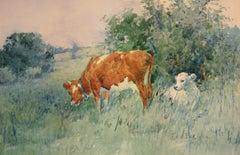 """Spring Calf,"" Frederic Ede, watercolor, impressionist, pastoral landscape"