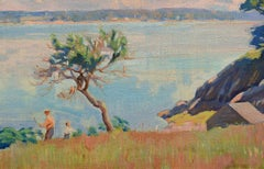 """Summer by the Shore,"" American Impressionist, 20th c, oil, landscape, coast"