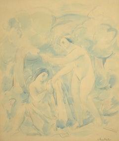 """Bathers,"" Georg Merkel, watercolor, ca 1920-30, modernist, figurative art"