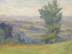 """""""View of the Valley,"""" Florence Bach, oil, impressionist, ca. 1910-20, landscape"""