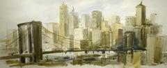 """Brooklyn Bridge,"" Ted Davis, watercolor, ca. 1950-60, modernist, New York"