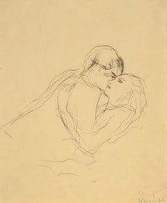 """The Embrace,"" Marcel Vertes, ink, ca. 1920-30's, figurative art"
