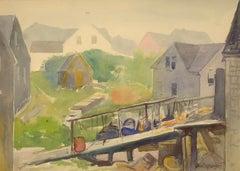 """""""Monhegan Village,"""" Sears Gallagher, watercolor, 20th century"""